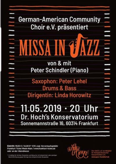 """GACC Frühjahrkonzert 2019 - """"Missa in Jazz"""" by and with Peter Schindler and Ensemble @ Dr. Hoch's Konservatorium"""